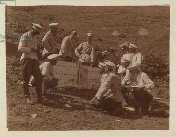 Bulgarian artillerymen during an exercise, early 20th Century (b/w photo)