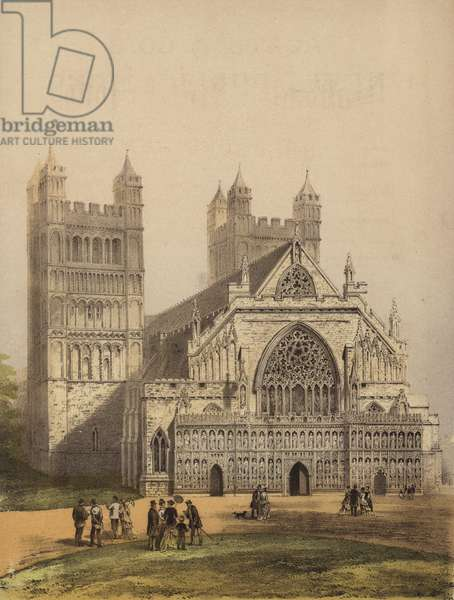 Exeter Cathedral, Devon (colour litho)