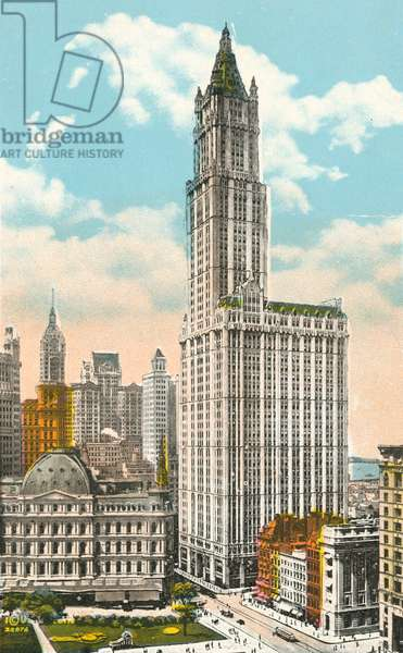 Woolworth Building, New York (colour litho)