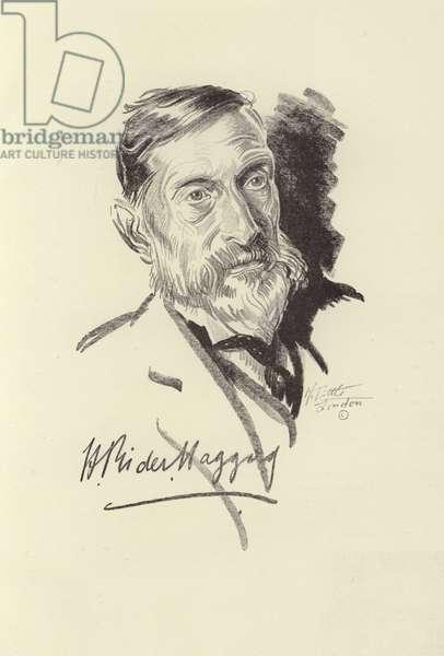 H Rider Haggard, English novelist (litho)