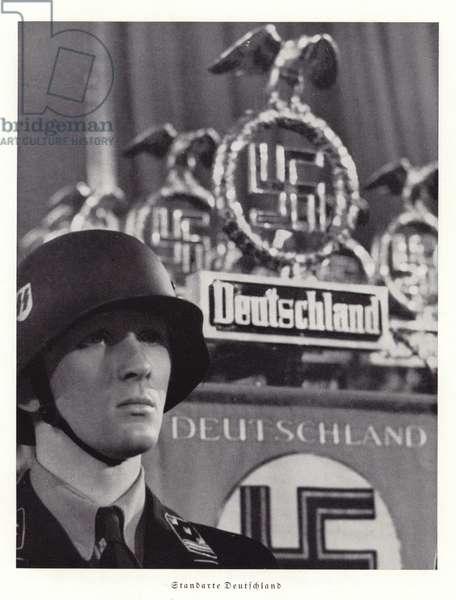 Nazi standards at the Nuremberg Rally, 1936 (b/w photo)