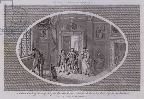 Charles I taking leave of his family after being sentenced to loose his head by the parliament (engraving)