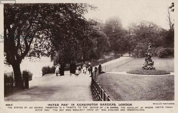 """Peter Pan"" in Kensington Gardens, London (b/w photo)"