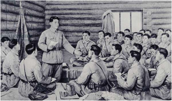 Comrade Kim Il-sung presents a report at a meeting in Nanhutou (litho)