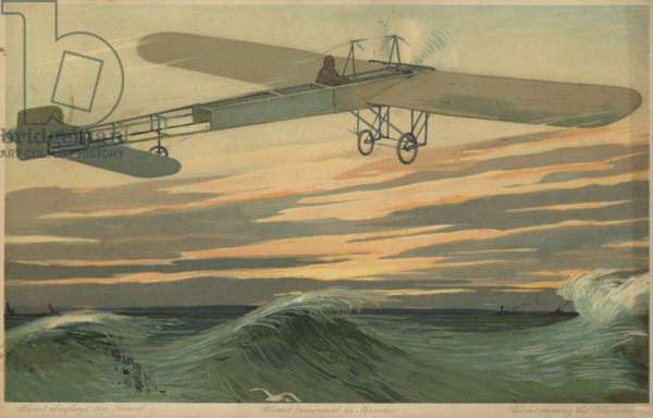 Louis Bleriot making the first flight across the English Channel in a heavier than air aircraft, 25 July 1909 (colour litho)