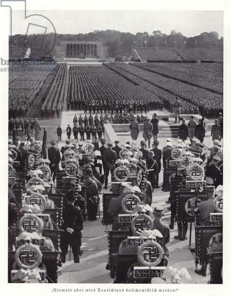 Hitler addressing the Nuremberg Rally, 1936 (b/w photo)