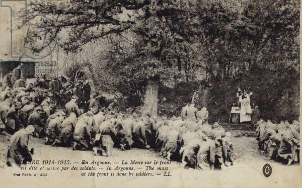 Soldiers at Mass at the front, Argonne Forest, France, World War I (b/w photo)