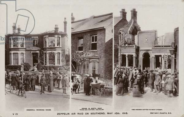 Three scenes from the zeppelin air raid on Southend (b/w photo)