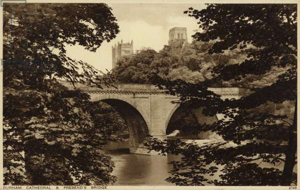 Durham Cathedral & Prebend's Bridge (b/w photo)