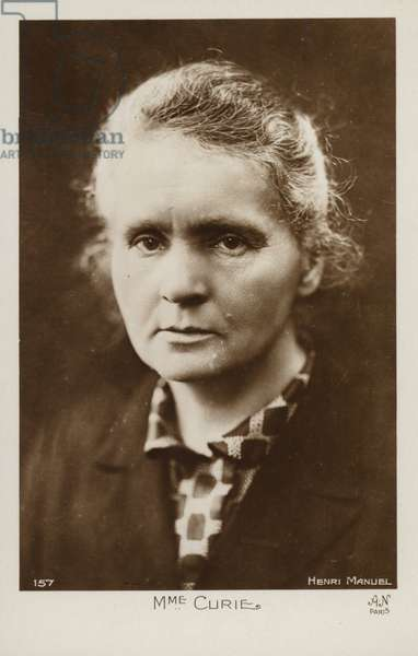 Marie Curie (1867-1934), Polish physicist and chemist (b/w photo)