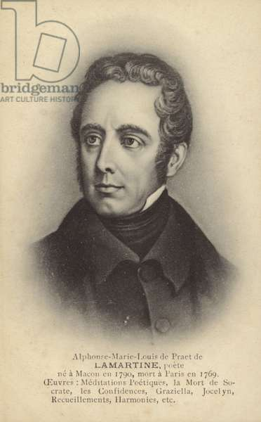 Alphonse de Lamartine (1790-1869), French writer, poet and politician (litho)