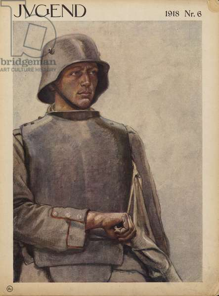German soldier, World War I (colour litho)