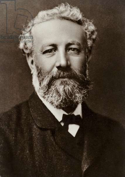 Jules Verne (1828-1905), French novelist (b/w photo)