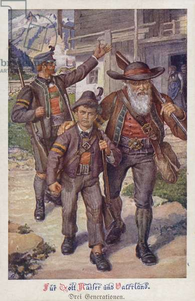 For God, Emperor and Fatherland: three generations of Austrian men setting off to war (colour litho)
