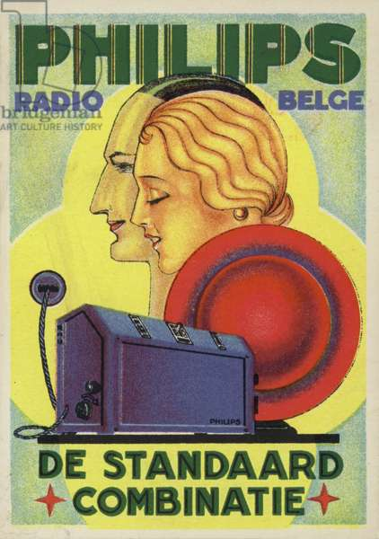 Advertisement for Philips radios and Belgian Radio (colour litho)