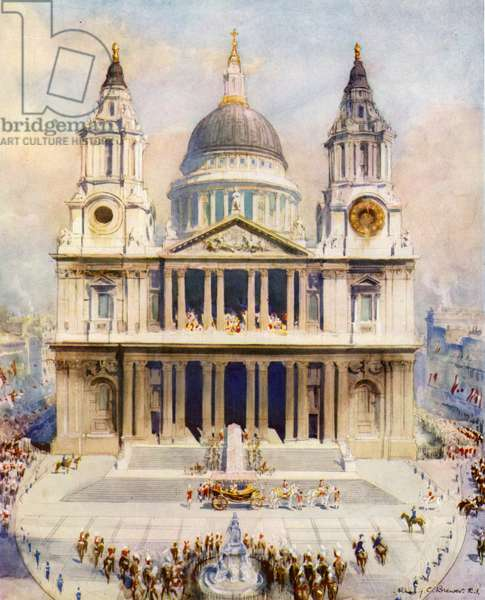 St Paul's Cathedral, London, venue of the service of prayer and thanksgiving on the Silver Jubilee of King George V, 1935 (colour litho)