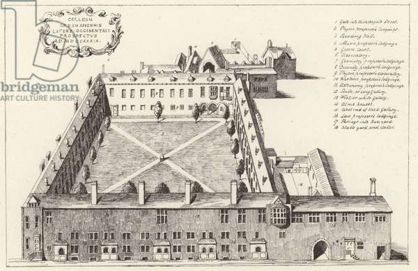 Aerial view of Gresham College in the City of London (engraving)