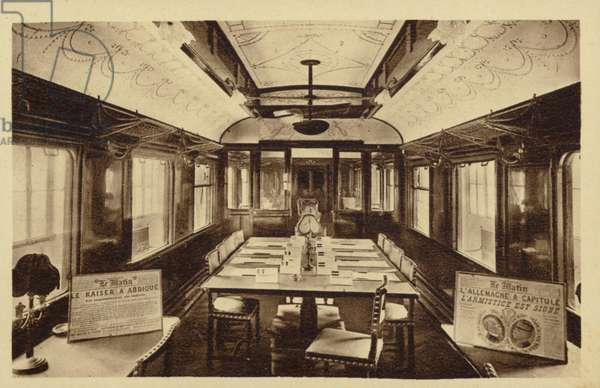 Railway carriage in which was signed the Armistice treaty (b/w photo)