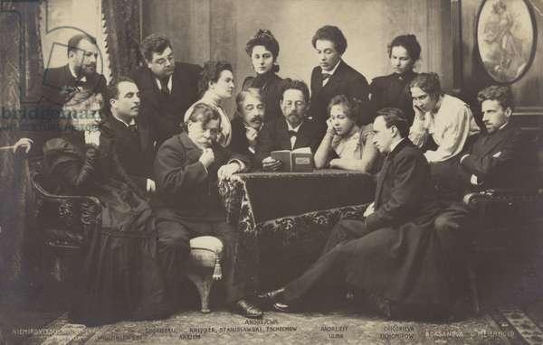 Anton Chekhov reading to members of the Moscow Art Theatre (b/w photo)