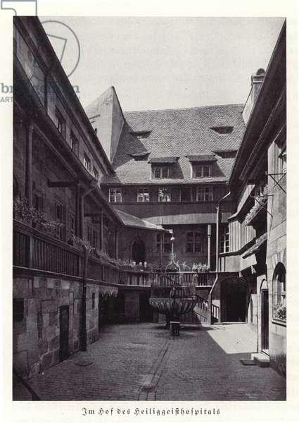 Courtyard of the Holy Spirit Hospital, Nuremberg (b/w photo)