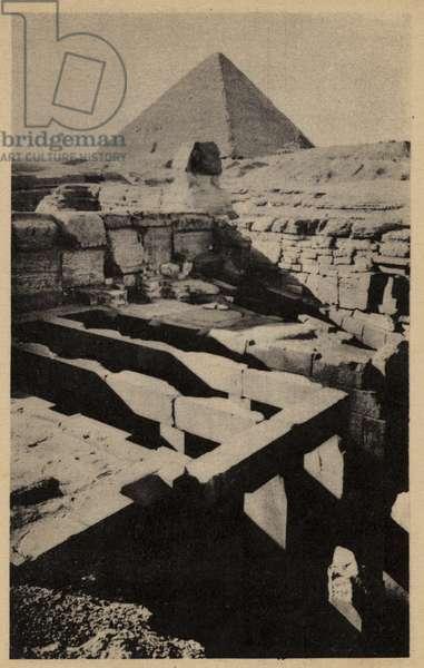The Sphinx Temple, Giza, Egypt (b/w photo)