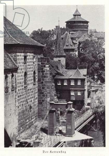 Kettensteg chain footbridge, Nuremberg (b/w photo)