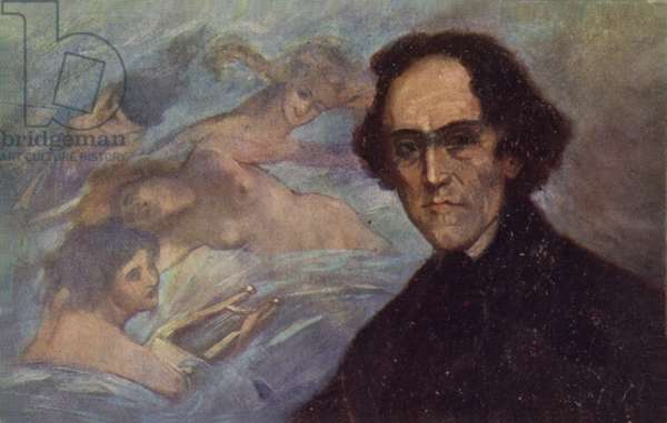 Portrait of Giacomo Meyerbeer (colour litho)