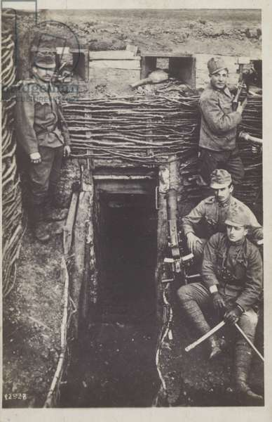 Soldiers in a trench, World War I (b/w photo)