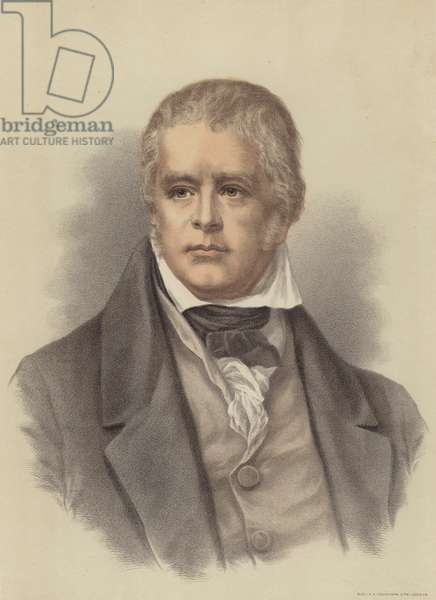 Sir Walter Scott, Scottish novelist and poet (colour litho)