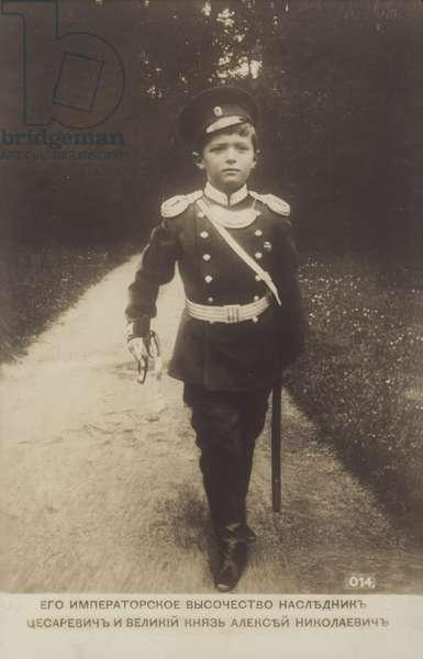 Alexei Nikolaevich Romanov, Tsarevich of Russia, 1910s. (b/w photo)