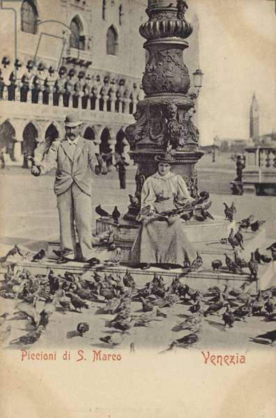 Postcard depicting a man and woman feeding pigeons in Piazza San Marco (b/w photo)