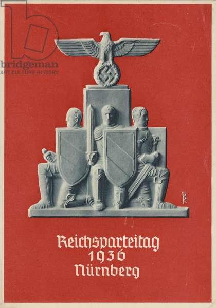 Nuremberg Rally Germany, 1936, Nazi propaganda postcard (colour litho)