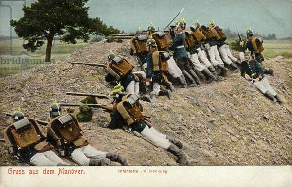 German infantry taking cover on manoeuvres (coloured photo)