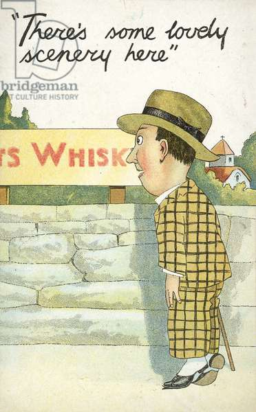 Man looking toward whisky distillery (colour litho)