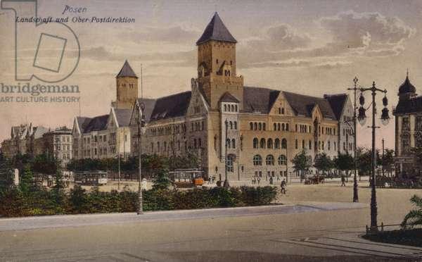 Postcard depicting municipal buildings in Posen (photo)