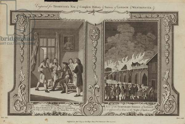 London Fires of 1666 and 1758 (engraving)