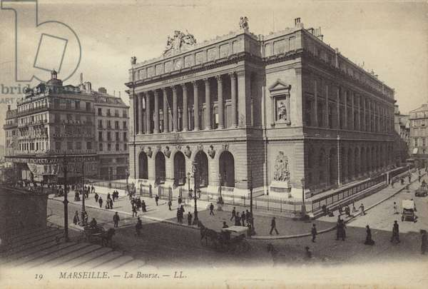 Stock Exchange in Marseille, France (b/w photo)