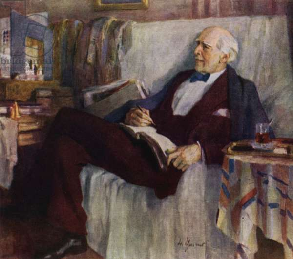 Portrait of Russian actor and theatre director Konstantin Stanislavski at work, 1947 (colour litho)
