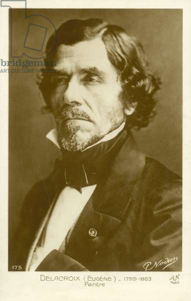 Eugene Delacroix, French painter (b/w photo)