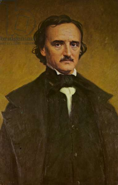 Edgar Allan Poe (1809-1849), American short story writer and poet (colour litho)