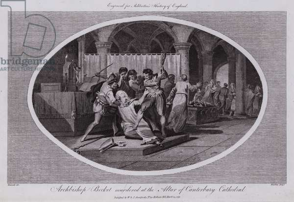 Archbishop Becket murdered at the Altar of Canterbury Cathedral (engraving)
