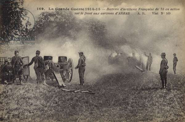 Battery of French 75 mm artillery in action at the front around Arras, France, World War I, 1914-1915 (b/w photo)