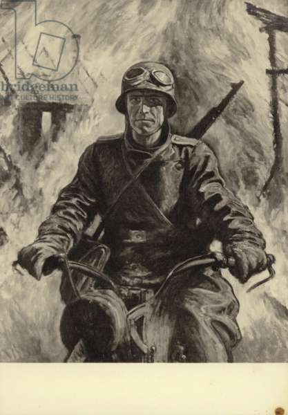 German soldier riding a motorcycle, World War II (litho)