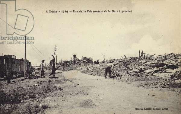 Ruins of Lens, France, after World War I, 1919 (b/w photo)