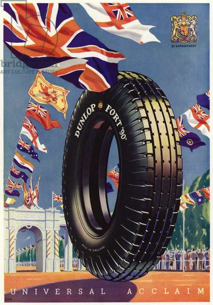 Advertisement for Dunlop tyres, May 1935 (colour litho)