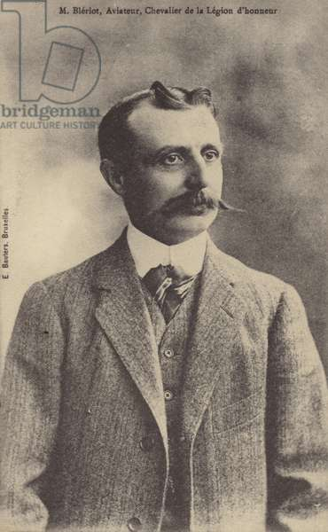Louis Bleriot, French aviator, inventor and engineer (b/w photo)