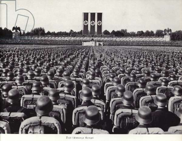 Massed ranks of the SS at the Nuremberg Rally, 1936 (b/w photo)