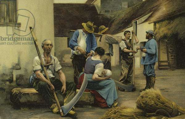 Paying the Harvesters (colour litho)