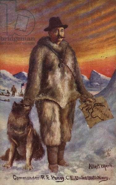 Robert Peary (1856-1920), American Arctic explorer (colour litho)