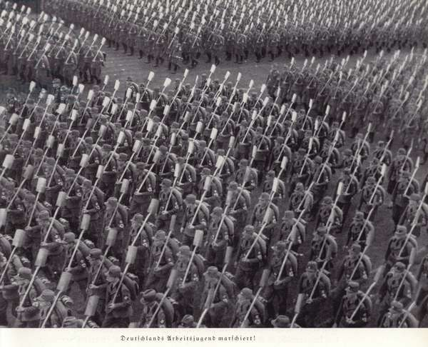 Germany's young workers on the march, Nuremberg Rally, 1936 (b/w photo)